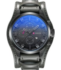 reloj cuarzo analogico lujo hombre cuero curren 8225 gris