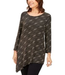 jm collection petite metallic asymmetrical top, created for macy's
