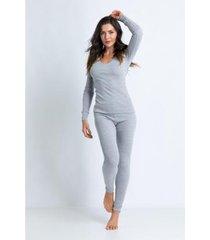 conjunto de pijama acuo manga longa slim feminino