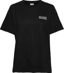 thin software jersey t-shirts & tops short-sleeved svart ganni
