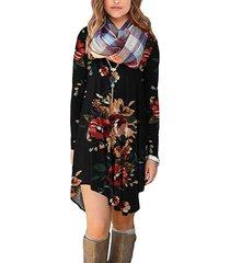 cuello de pico floral tropical de manga larga vestido