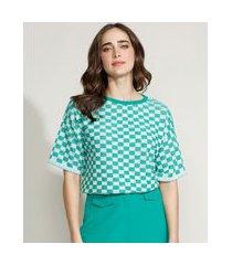 blusa de tricô feminina mindset oversized estampada xadrez vichy manga curta decote redondo verde