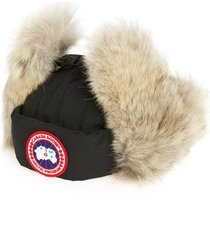 men's canada goose down fill aviator hat with genuine coyote fur trim, size small/medium - black