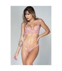 conjunto feminino lingerie serra e mar modas com renda e aro rosê
