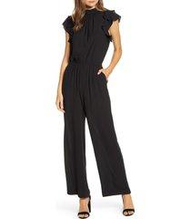women's 1.state flutter sleeve jumpsuit, size xx-large - black