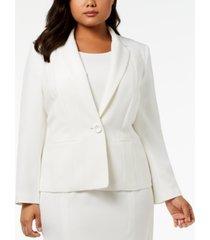 kasper plus size one-button crepe jacket