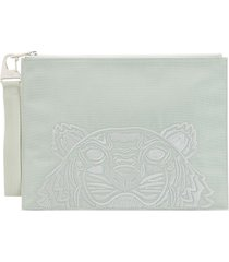 kenzo large embroidered tiger pouch - green