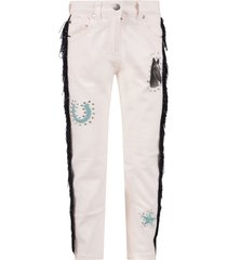 stella mccartney kids pink jeans for girl with fringes