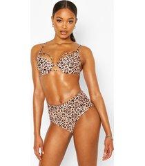 mix & match animal control high waist bikini brief, brown