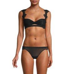 la perla women's lace front-keyhole bra - black - size 36 b