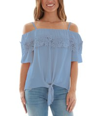 bcx juniors' crochet-trim cold-shoulder tie-front top
