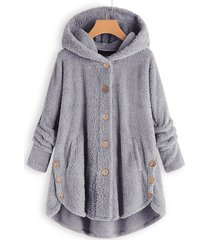 hooded faux shearling buttons plus size coat