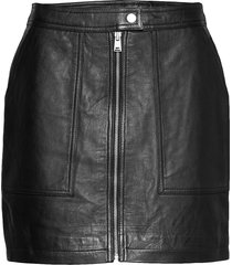 edit cassidy leather skirt kort kjol svart superdry