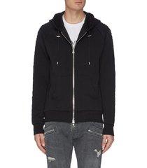 embossed sleeve hoodie