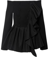 carolina herrera ruffled off-shoulder jacket - black