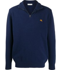 etro embroidered logo pull-over - blue