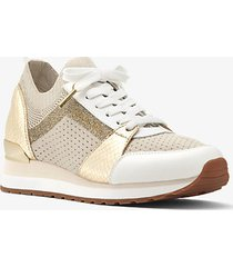 mk sneaker billie in maglia metallizzata - panna (naturale) - michael kors