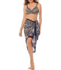 women's miraclesuit golden lynx georgette scarf pareo, size one size - metallic