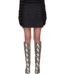 button mini skirt