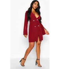 woven double breasted split sleeve blazer dress, berry