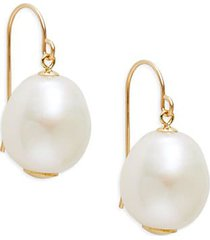 14k yellow gold & 11mm freshwater pearl drop earrings