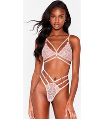 womens act your cage strappy bralette and panty set - pink