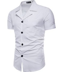 tuta da uomo casual colore puro sottile fit manica corta camicia con tasca sul petto
