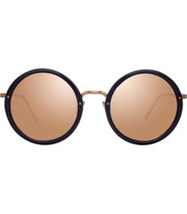 linda farrow mirrored round-frame sunglasses - blue