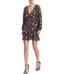 carlo silk floral wrap dress