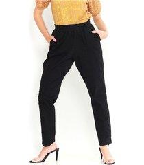pantalón tipo culotte, tiro alto, fluido color-negro-talla-14