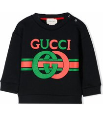 gucci blue felted cotton jersey sweatshirt