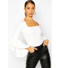 crepe flared sleeve square neck top, ivory