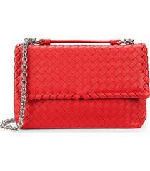 bottega veneta women's intreciato leather shoulder bag - red