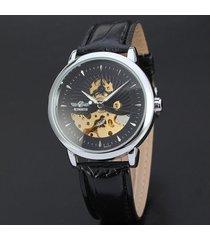 reloj mecánico.correa de cuero. sun and moon steel shorts-