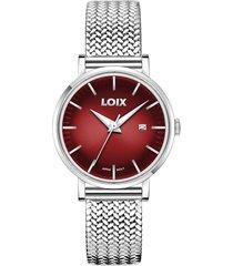 reloj loix ref. la1001-7 plata/rojo