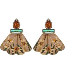 citrine, green tourmaline marquetry earrings