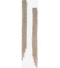 *long statement rhinestone drop earrings - clear