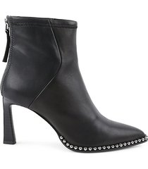 pointy-toe leather booties