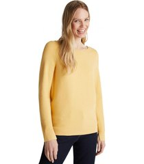 sweater básico con textura de canalé mostaza esprit
