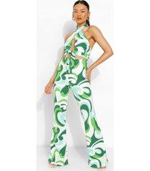 wikkel top met abstracte opdruk en halter neck en broek met wijde pijpens, emerald