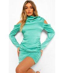 satijnen geplooide mini jurk met waterval hals, green
