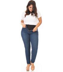 calça jeans feminina super lipo skinny plus size