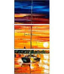 conjunto de telas decorativa barco a vela grande love decor