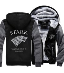 game of thrones house stark hoodie zip up jacket coat winter warm black and gray