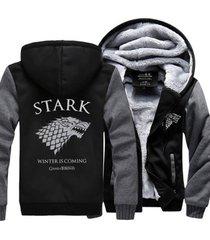 game of thrones house stark hoodie zip up jacket coat winter warm black and gray