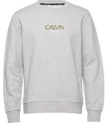 calvin small logo sweatshirt sweat-shirt tröja grå calvin klein