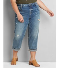 lane bryant women's signature fit high-rise girlfriend straight crop jean - ripped light wash 26 light denim