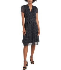 msk printed pintucked fit & flare dress