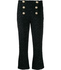 balmain tweed cropped trousers - black