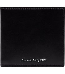 alexander mcqueen black billfold leather wallet